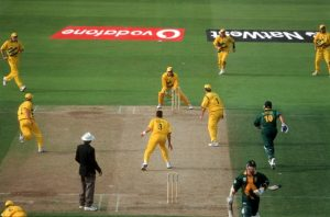 """Donald fails to make it and is run out & Australia win, Cricket World Cup 1999, Australia v South Africa at Edgbaston (Semi-final) 1995663 (Photo by Patrick Eagar/Patrick Eagar Collection via Getty Images)"""
