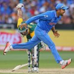 Suresh Raina of India attempts unsuccessfully to run out e