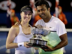 Hingis and Paes after their Australian Open triumph in 2015