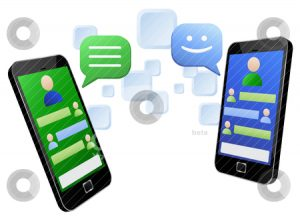Vector illustration of social media messaging between two modern touch screen mobile phones