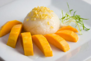 Mango with Coconut-glazed rice is the next big thing now. Thai Delights