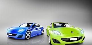 Two Elegant Multicolored Modern Cars