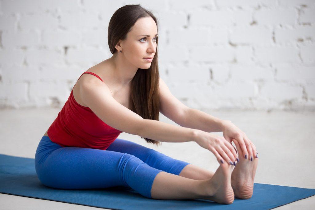 Yoga Indoors: Paschimottanasana pose