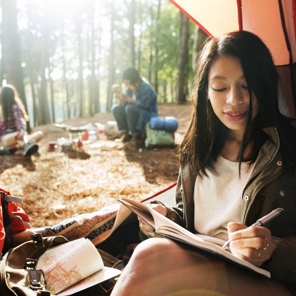 Girl Writing Journal Tent Concept