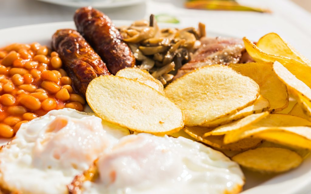 Close up of fried English breakfast
