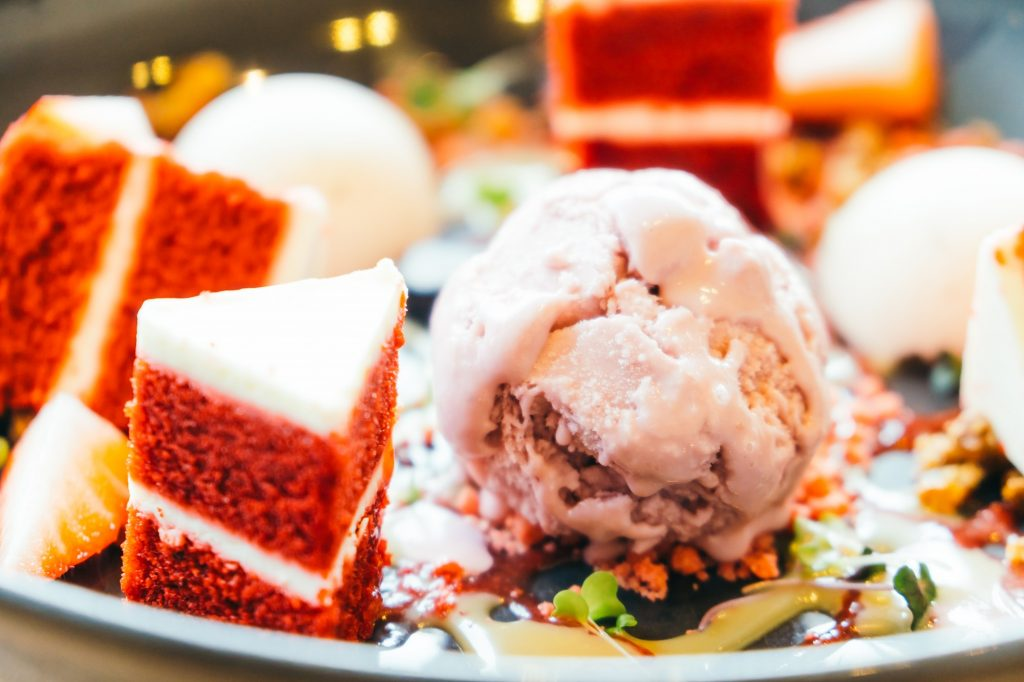 Ice cream with red velvet cake dessert