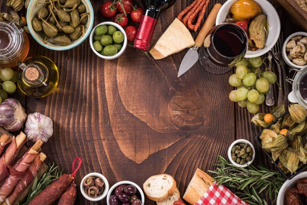 Spanish tapas food border frame