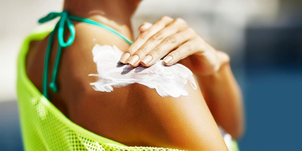 Sunscreen to skin