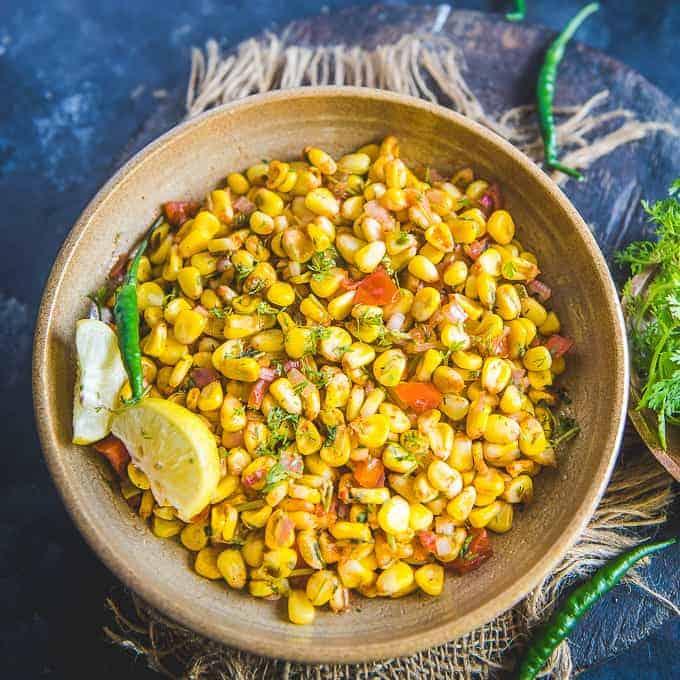 Mint flavored masala corn
