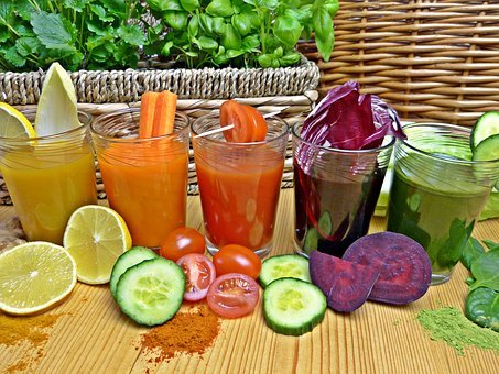 Fresh juices for glowing and healthy skin.