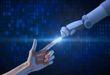 Human hand and robot hand with binary number code and light on blue screen background