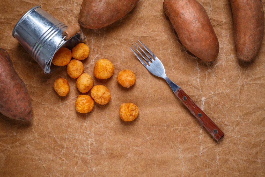 Mashed sweet potato and cheese balls